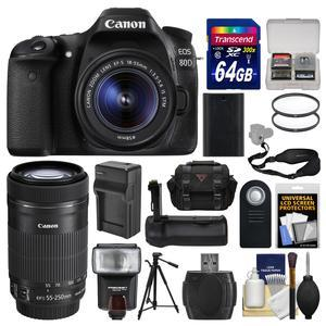 Canon EOS 80D Wi-Fi Digital SLR Camera and EF-S 18-55mm IS STM Lens with 55-250mm IS Lens + 64GB Card + Case + Flash + Battery and Charger + Grip + Tripod + Kit