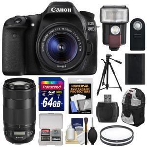 Canon EOS 80D Wi-Fi Digital SLR Camera and EF-S 18-55mm IS STM Lens with 70-300mm IS Lens + 64GB Card + Battery + Backpack + Tripod + Flash and LED Light + Kit