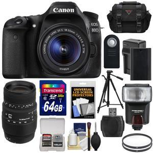Canon EOS 80D Wi-Fi Digital SLR Camera and EF-S 18-55mm IS STM Lens with Sigma 70-300mm Lens + 64GB Card + Battery and Charger + Case + Flash + Tripod + Kit
