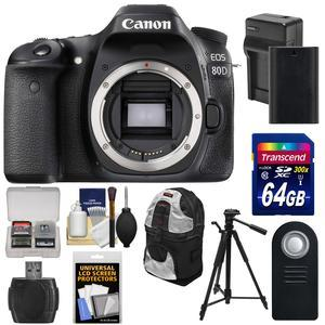 Canon EOS 80D Wi-Fi Digital SLR Camera Body with 64GB Card + Battery and Charger + Backpack + Tripod + Remote + Kit