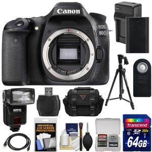 Canon EOS 80D Wi-Fi Digital SLR Camera Body with 64GB Card + Battery and Charger + Case + Flash + Tripod + Kit