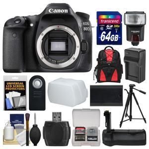 Canon EOS 80D Wi-Fi Digital SLR Camera Body with 64GB Card + Case + Flash + Battery and Charger + Grip + Tripod + Remote Kit