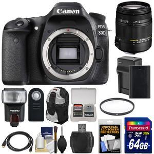 Canon EOS 80D Wi-Fi Digital SLR Camera Body with Sigma 18-250mm OS Lens + 64GB Card + Battery and Charger + Backpack + Flash + Kit