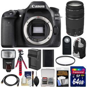 Canon EOS 80D Wi-Fi Digital SLR Camera Body with 75-300mm III Lens + 64GB Card + Battery + Backpack + Flash + Flex Tripod + Kit