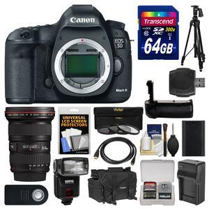 Canon EOS 5D Mark III Digital SLR Camera Body with 16-35mm f-2.8 L Lens and 64GB Card and Case and Flash and Battery-Charger and Grip and Tripod Kit