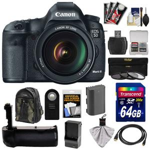 Canon EOS 5D Mark III Digital SLR Camera with EF 24-105mm L IS USM Lens with 64GB Card and Battery and Charger and Grip and Backpack Case and 3 Filters and Accessory Kit