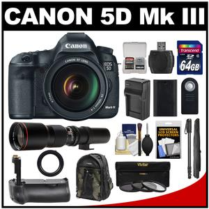 Canon EOS 5D Mark III Digital SLR Camera with EF 24-105mm L IS USM Lens with 500mm Telephoto Lens and 64GB Card and Grip and Battery and Charger and Backpack and Monopod Kit