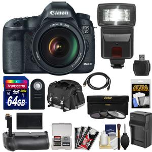 Canon EOS 5D Mark III Digital SLR Camera with EF 24-105mm L IS USM Lens with 64GB Card and Battery and Charger and Backpack and Grip and Flash and Accessory Kit