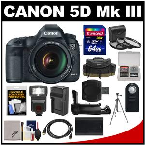 Canon EOS 5D Mark III Digital SLR Camera with EF 24-105mm L IS USM Lens with 64GB Card + Case + Flash + Battery/Charger + Tripod + Filters + Kit