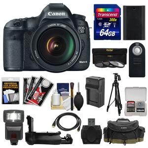 Canon EOS 5D Mark III Digital SLR Camera with EF 24-105mm L IS USM Lens with 64GB Card and Case and Flash and Battery-Charger and Tripod and Filters and Kit
