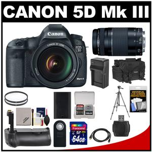 Canon EOS 5D Mark III Digital SLR Camera with EF 24-105mm L IS USM Lens & 75-300mm III Lens + 64GB Card + Grip + Battery & Charger + Case + Tripod + Kit