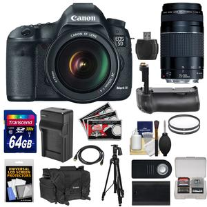 Canon EOS 5D Mark III Digital SLR Camera with EF 24-105mm L IS USM Lens and 75-300mm III Lens and 64GB Card and Grip and Battery and Charger and Case and Tripod and Kit