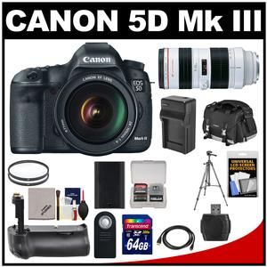 Canon EOS 5D Mark III Digital SLR Camera with EF 24-105mm L IS USM Lens & 70-200mm f/2.8L USM Lens + 64GB Card + Grip + Battery & Charger + Case + Tripod Kit