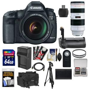 Canon EOS 5D Mark III Digital SLR Camera with EF 24-105mm L IS USM Lens and 70-200mm f-2.8L USM Lens and 64GB Card and Grip and Battery and Charger and Case and Tripod Kit
