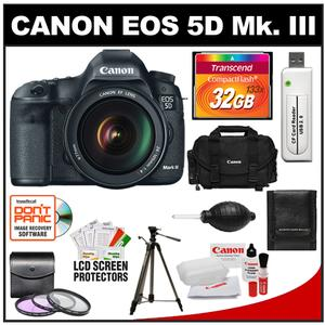 Canon EOS 5D Mark III Digital SLR Camera with EF 24-105mm L IS USM Lens with 32GB Card + Canon Case & Tripod + 3 UV/FLD/CPL Filters + Accessory Kit