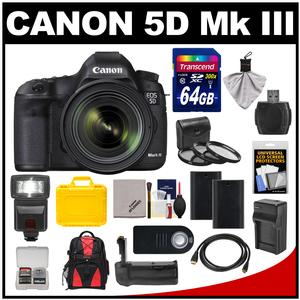 Canon EOS 5D Mark III Digital SLR Camera with EF 24-70mm f/4.0L IS USM Lens & 64GB Card + Batteries + Charger + Backpack + Flash + Grip + 3 Filters + Accessory Kit