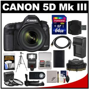 Canon EOS 5D Mark III Digital SLR Camera with EF 24-70mm f/4.0L IS USM Lens & 64GB Card + Case + Flash + Battery/Charger + Grip + Tripod + Kit