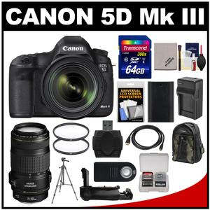 Canon EOS 5D Mark III Digital SLR Camera with EF 24-70mm f/4.0L IS USM Lens & 70-300mm IS Lens + 64GB Card + Backpack + Battery/Charger + Grip + Tripod Kit
