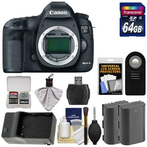 Canon EOS 5D Mark III Digital SLR Camera Body with 64GB Card and 2 Batteries and Charger and Remote and Accessory Kit