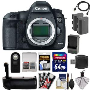 Canon EOS 5D Mark III Digital SLR Camera Body with 64GB Card and 2 Batteries and Charger and Grip and HDMI Cable and Accessory Kit
