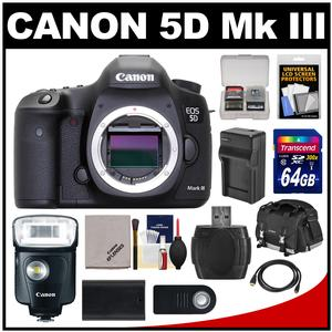 Canon EOS 5D Mark III Digital SLR Camera Body with 64GB Card + 320EX Flash & LED Video Light + Case + Battery & Charger + Kit
