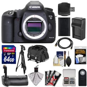 Canon EOS 5D Mark III Digital SLR Camera Body with 64GB Card and Grip and Battery and Charger and Case and Tripod and Kit