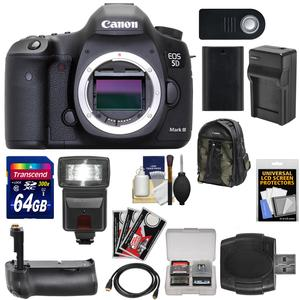 Canon EOS 5D Mark III Digital SLR Camera Body with 64GB Card and Flash and Grip and Battery and Charger and Backpack and Kit