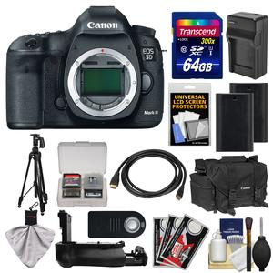 Canon EOS 5D Mark III Digital SLR Camera Body with Case and 2 Batteries and Charger and Grip and Tripod and Accessory Kit
