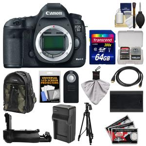 Canon EOS 5D Mark III Digital SLR Camera Body with 64GB Card and Backpack and Battery-Charger and Grip and Tripod and Kit