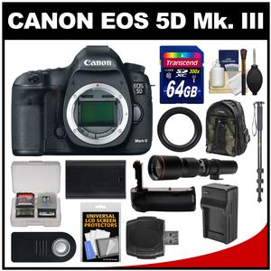 Canon EOS 5D Mark III Digital SLR Camera Body with 500mm Telephoto Lens and 64GB Card and Backpack and Battery and Charger and Grip and Monopod Kit
