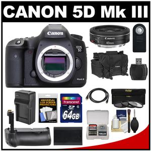 Canon EOS 5D Mark III Digital SLR Camera Body with 40mm f-2.8 STM Lens and 64GB Card and Grip and Battery and Charger and Case and Filters Kit