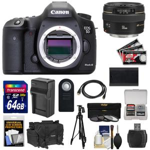 Canon EOS 5D Mark III Digital SLR Camera Body with 50mm f-1.4 USM Lens and 64GB Card and Battery and Charger and Case and 3 Filters and Tripod Kit
