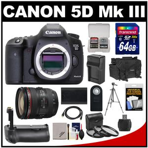 Canon EOS 5D Mark III Digital SLR Camera with EF 24-70mm f/4.0L IS USM Lens & 64GB Card + Grip + Battery & Charger + Case + Tripod Kit