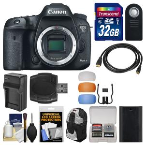 Canon EOS 7D Mark II GPS Digital SLR Camera Body with 32GB Card and Backpack and Battery and Charger and Remote and Kit