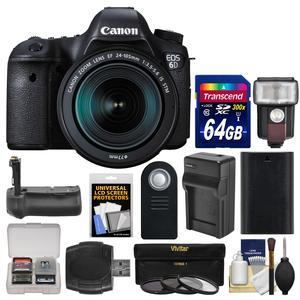 Canon EOS 6D Digital SLR Camera Body and EF 24-105mm IS STM Lens with 64GB Card and Flash and Battery and Charger and Grip and 3 Filters and Kit