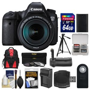 Canon EOS 6D Digital SLR Camera Body and EF 24-105mm IS STM Lens with 64GB Card and Backpack and Battery and Charger and Grip and Tripod and 3 Filters Kit