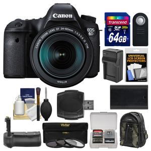 Canon EOS 6D Digital SLR Camera Body and EF 24-105mm IS STM Lens with 64GB Card and Canon Backpack and Battery and Charger and Grip and 3 Filters and Kit