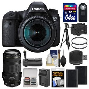 Canon EOS 6D Digital SLR Camera Body and EF 24-105mm IS STM Lens with 70-300mm IS Lens and 64GB Card and Case and 2 Batteries and Charger and Grip and Tripod Kit