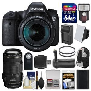 Canon EOS 6D Digital SLR Camera Body and EF 24-105mm IS STM Lens with 70-300mm IS Lens and 64GB Card and Backpack and Flash and Battery and Charger and Grip and Kit
