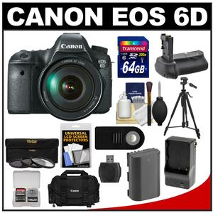 Canon EOS 6D Digital SLR Camera Body with EF 24-105mm L IS USM Lens with 64GB Card and Case and Battery and Charger and Battery Grip and Tripod and 3 UV-ND8-CPL Filters