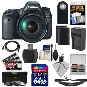 Canon EOS 6D Digital SLR Camera Body with EF 24-105mm L IS USM Lens with 64GB Card and 2 Batteries and Charger and Sling Strap and 3 Filters and Remote Kit
