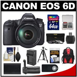 Canon EOS 6D Digital SLR Camera Body with EF 24-105mm L IS USM Lens with 64GB Card and Backpack and Grip and Battery and Charger and Tripod and Kit