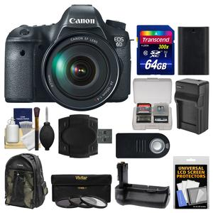 Canon EOS 6D Digital SLR Camera Body with EF 24-105mm L IS USM Lens with 64GB Card and Backpack and Battery-Charger and Grip and 3 UV-CPL-ND8 Filters Kit