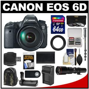 Canon EOS 6D Digital SLR Camera Body with EF 24-105mm L IS USM Lens with 500mm Telephoto Lens and 64GB Card and Backpack and Battery and Charger and Grip and Monopod Kit