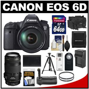 Canon EOS 6D Digital SLR Camera Body with EF 24-105mm L IS USM Lens with EF 70-300mm IS Lens + 64GB Card + Case + Grip + Battery & Charger + Tripod + Kit
