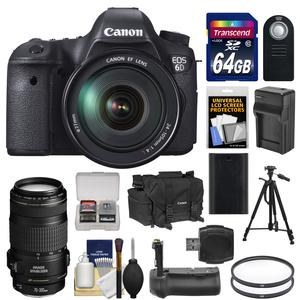 Canon EOS 6D Digital SLR Camera Body with EF 24-105mm L IS USM Lens with EF 70-300mm IS Lens and 64GB Card and Case and Grip and Battery and Charger and Tripod and Kit