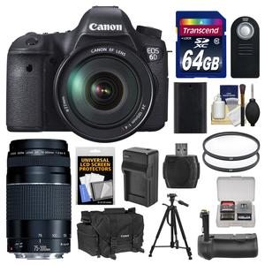 Canon EOS 6D Digital SLR Camera Body with EF 24-105mm L IS USM Lens with EF 75-300mm III Lens and 64GB Card and Case and Grip and Battery and Charger and Tripod Kit