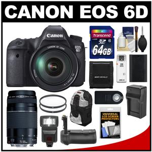 Canon EOS 6D Digital SLR Camera Body with EF 24-105mm L IS USM Lens with EF 75-300mm III Lens + 64GB Card + Sling Bag + Flash + Grip + Battery Kit