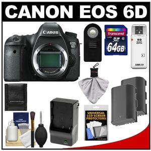 Canon EOS 6D Digital SLR Camera Body with 64GB Card + 2 Batteries & Charger + Remote + Accessory Kit