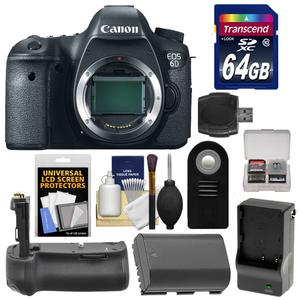 Canon EOS 6D Digital SLR Camera Body with 64GB Card and Battery and Charger and Battery Grip and Remote and Accessory Kit